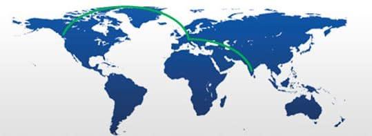 Seattle to Bangalore Map