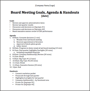 Example Board Meeting Agenda by Unitus Ventures (formerly Unitus Seed Fund)