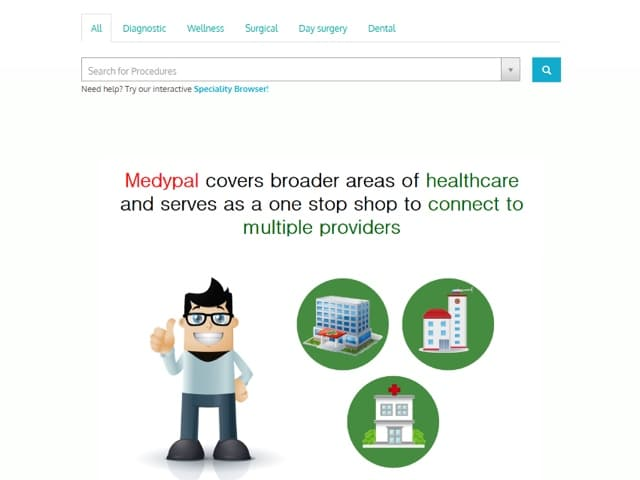 Medypal.com home page search box for medical procedures