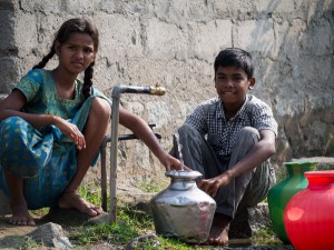 Kids with untreated water in Hampi, Karnataka